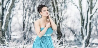 strapless dress in winter